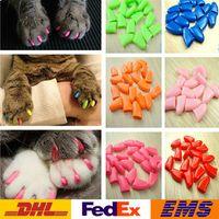 kedi yenilikleri toptan satış-Yeni Pet Tırnak Setleri Renkli Pet Nail Setleri Kedi Zırh Ürünleri Köpek Tırnak Setleri Tutkal Göndermek Moda Yenilik Kedi Köpek Zırh Ürünleri WX-G09