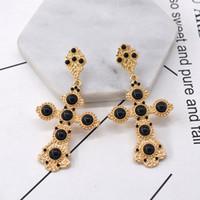 boucles d'oreilles strass croix achat en gros de-Baroque Strass Croix Boucles d'oreilles pour les femmes Mode Bijoux De Mariage Or métal Sculpture boucles d'oreilles Brincos Vintage Bijoux