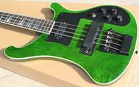 akçaağaç elektrik bas parmak izi toptan satış-Özel RIC 4 Strings Trans Yeşil 4003 Elektrik Bas Gitar Siyah Donanım Üçgen MOP Klavye Kakma Müthiş Çin Gitar Ücretsiz Kargo