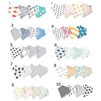 Wholesale Kids Scarves Accessories - 4Pcs Lot 10 Styles INS Baby Burp Bandana Bibs Cotton Soft Kids Toddler Triangle Scarf Bib Cool Accessories Infant Saliva Towel