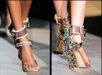 Wholesale Stilettos Sandals Wedding Shoes - Original Quality Women Sexy High Heels Sandal Luxury Brand Open Toes Spikes Transparent Rhinestone Wedding High Heel Shoes Handmade 35-41