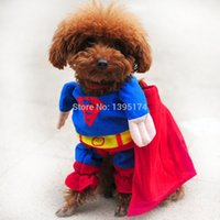 Wholesale Dog Dressed Superman - Accept custom LOGO New Lovely Pet Cat Dog Superman Costume Suit Puppy Dog Clothes Outfit Superhero Apparel Clothing for dogs Free Shipping