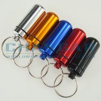 Wholesale car capsule - (20pcs,5 colors) Bigger 48x17mm Waterproof Aluminum Pill Cache Capsule box Cash Stash Container Key rings bottle keychain holder