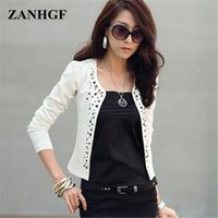 Wholesale womens puff jackets - Wholesale- Fashion Womens Studded Double-Breasted Solid Small Casual Bolero Cropped Jacket Coat Outwear Size S-XXL Black White