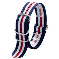 Wholesale Theme Ring - Wholesale-American US Flag Theme Stripe with 5 Rings Nylon Canvas 20 22 mm Watch Strap Band For Sport Watches Free Shipping