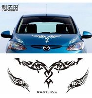 Wholesale 3d Flame Decals - Package mail car modification flame machine cover stick engine cover post sticker decal hood-568