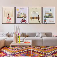 Wholesale poster printing london - 7 Modern Abstract World City Travel Bedroom Wall Art Silhouette Paris Rome London Poster Prints Picture Canvas Paintings Gifts