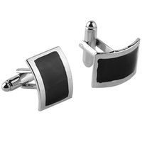 Wholesale mens button jewelry - Fashion Jewelry shirt cufflinks for mens Brand cuff buttons Black Silver French Enamel cuff links High Quality abotoaduras 6