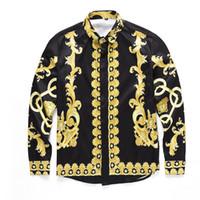 Wholesale Xs Dog Collar Green - Wholesale- 2017 Medusa Shirt Men Spring Autumn Harajuku Medusa Gold Chain Dog Rose Print Shirs Retro Floral Long Sleeve Patchwork Men's Top