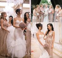 novias de oro vestido de mucama al por mayor-Barato lentejuelas de oro rosa Vestidos de noche de dama de honor 2019 Vaina con cuello en V Ocasiones atractivas Vestidos Vestido de boda Invitado Vestido de dama de novia