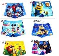 Wholesale Spiderman Swimsuits - 100PCS Hot Children Baby Boy minions spiderman Swim trunks Beachwear Cool Swimsuits Kids cartoon kids Boys Swimming Shorts pants 16 styles