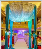 Wholesale Satin Round Table - Custom Made Color 2m * 3m Sequins Beads celling Fabric Satin Drape Curtain Wedding Backdrop Round Canopy Party Stage Centerpieces Favors