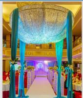 saten düğün zeminler toptan satış-Özel Yapılmış Renk 2 m * 3 m Sequins Boncuk celling Kumaş Saten Örtüsü Perde Düğün Zemin Yuvarlak Gölgelik Parti sahne Centerpieces Şekeri