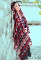 Wholesale Wholesale Designer Silk Scarves Women - Hot designer ethic geometric printing women fashion winter autumn scarf travelling shawls sarong red blue 90x180cm