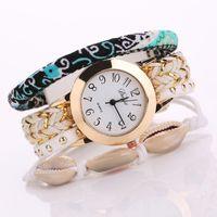 Wholesale Wrap Watch Brands - New Women Wrap Bracelet Brand Watch Fashion Shell Watch Women Casual PU Leather Clock Female Orologio Donna 2016