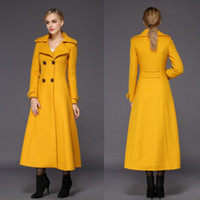 Wholesale Slim Fit Jacket Cheap - Fashion Yellow Womens Long Winter Coats For Women Slim Fit Wool Blend Ladies Jacket Warm Parka Double Breasted Long Sleeves Cheap Overcoat
