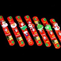 Wholesale Plastic Charms For Kids - 36pcs Lot Christmas Santa Claus Luminous Charm Bracelet Cute Cartoon Snowman PVC LED Toys Bracelet For Kids Xmas Birthday Party Gift
