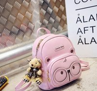 Wholesale Han Edition Leather Backpack - Women Small PU leather Backpack Cartoon Bear Shaped Backpack Multifunction Double Shoulder Bag Han edition handsomer