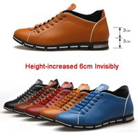 Wholesale Men Height Elevator Shoes - New Height Increase Men Shoes Luxury Brand Top Fashion Men's Flats Lace-up Oxford Shoes 6cm Elevator Casual Leather Shoes