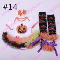 Wholesale Halloween Pumkin - free shipping 10set girls clothing halloween boutique baby girls pumkin skirts girls Halloween party clothes with accessories