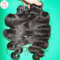 Wholesale Fashion Queen Hair - Fashion Queen Gorgeous 8a Human Hair Peruvian Virgin loose Body Wave Bundles 3pcs lot Color Black Famous Brand
