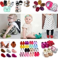 Wholesale Wholesale Toddler Bow Ties - Baby Leather Moccasins pu First Walker Shoes Girls Boys Bow Tassel Moustache Princess Shoes Toddler Top layer Leather Footwear Shoes HH7-25