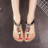boncuklu daireler toptan satış-2016 yaz yeni Rhinestone Boncuklu T-Tied düz sandalet tanga sandalet Bohemian moda Ayakkabı