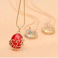 Wholesale Charming Red Coral Necklace - Free Shipping fashion ruby red China retro style opal pendants necklace ,females collarbone chain wholesale price