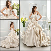 Wholesale Taffeta Wedding Gowns Online - 2017 Champagne V - neck Pleated Beaded Fashion Wedding Dress Taffeta Bridal Gown, can be customized.Welcome to perfectmoment88 online store