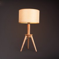 Wholesale Country Coffee Tables - Bedside Lamp Modern Creative Country Personalized Coffee Shop Decor Bedroom Fabric Art Wood Art Table Lamp