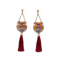 Wholesale Swing Tassels - Extra Long Multi Color Stone Inlay Red Tassel Swinging Chandelier Earring Bohemia 7 Years Professional Factory Export OEM ODM Experneice