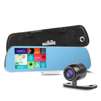 Wholesale Touchscreen Mirrors - 5.0Inch Android Mirror Car DVR 4 in 1 Car Video Recorder + GPS Navigator + Wifi + Dual Lens Rearview Mirror Car Camera Touchscreen