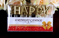 Wholesale Candle Happy Birthday - 120sets lot, New Arrival Birthday Cake Decoration Home Party Use Ideal Gold HAPPY BIRTHDAY Candle Cake Candles