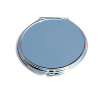 Wholesale Purse Favors - New Portable Makeup Mirror Case Round Silver Compact pocket purse Mirror Wedding Favors #M0840