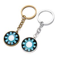 Wholesale Power Zinc - The Avengers Iron Man heart power keychain Time gemstone key ring keyring pendants men women bag hang jewelry Bronze silver 240332