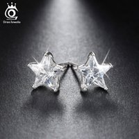 ORSA JEWELS Puro 925 brincos de prata esterlina 0.8ct Cubic Zircon Star Stud Earring para mulheres Wedding Party 2017 New Jewelry SE02