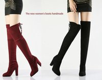 Wholesale Thigh Boot Nude - Europe new Milan fashion design division sexy high-heeled knee length boots large size shoes boots fashion boots catwalk High-heeled boots