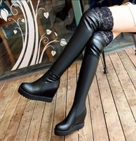 Wholesale thigh high wedge plus size boots for sale - Group buy New Plus size Women boots Autumn Winter High Knee boots Sapatos femininos High heels Flock Zipper Black hot sales