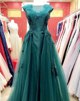 Wholesale Evening Wear Formal Dress - Gorgeous Green Evening Dresses 2017 Beaded Appliques Sheer Neck Formal Evening Gowns With Organza Overskirts Dubai Woman wear