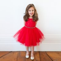 Wholesale Christmas Ornaments Flowers - Girls red Sleeveless Princess Dress ribbon Flower Lace dress with Rhinestone ornaments for kids Christmas Party Performance Ball 2-5T