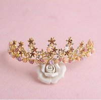 Wholesale Bridal Golden Crown - Luxurious Crown Women Crystal Floral Tiara Jewelry Golden Bridal Crown Hairwear Wedding Photography Accessories