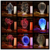 Wholesale Table Lamps Rechargeable Batteries - 3D Visual Bulb Sculpture Optical Illusion Usb LED Table Lamp Touch Romantic Holiday Night Light Baymax Rose Heart F464