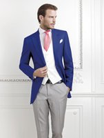 Wholesale Royal Blue Vest L - Wholesale-Fashion Style One Button Royal Blue Groom Tuxedos Groomsmen Men's Wedding Prom Suits Bridegroom (Jacket+Pants+Vest+Tie) K:539