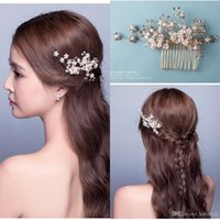 Wholesale Pearl Stick Pins - 2016 New Elegant Beaded Wedding Hair Accessory Crystals Bridal Hair Decorations Flower Design Hair Pins Free Shipping CPA511