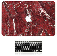 "Wholesale Apple Laptop Hard Keyboard Covers - Red Marble Pattern Hard Case + Keyboard Cover for Apple Macbook Pro   Air   Retina 12 13 15"" Air 11 13""inch Sleeve"