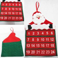 Indoor Christmas Decoration Cloth Luminous Christmas Calendars Fabric Xmas Advent Countdown Calendar Fun Christmas Santa Claus Decorations free shipping in stock