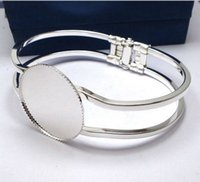 Wholesale Bezel Blanks Bracelet - Min Order 20pcs Wholesale Silver Plated 25mm Cabochon Setting Disc Cuff Bangle&Bracelets Blank Findings for Jewelry Making