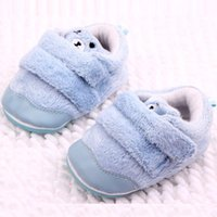 Wholesale Cute Bear Shoes - Hot Wholesales Baby Boots Cute Bear Plush Double Hook & Loop Straps Newborn First Walker Baby Unisex shoes Baby Blue Color