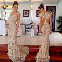Wholesale Womens Celebrity Formal Dresses - Sexy Celebrity Dresses Red Carpet 2016 Elegant Party See-Through Sweetheart Lace Runway Mermaid Formal Evening Gowns For Womens