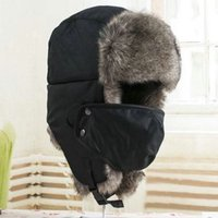 Wholesale Earflap Hat Adult - Wholesale-New Unisex Men Winter Trapper Aviator Trooper Earflap Warm Ski Hat With Mask